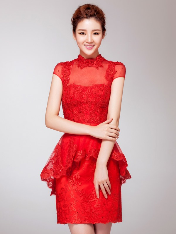 High Neck Lace Beading Short Cocktail Dress