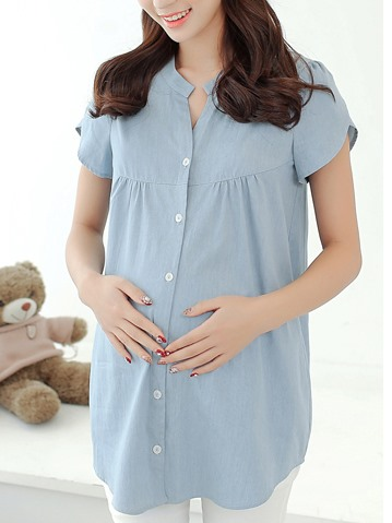 Solid Color Single Collar Maternity Blouse