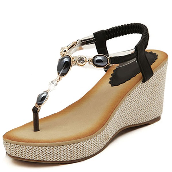 Beads Inlaid Elastic Slingback Wedge Sandals(Free Shipping)