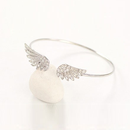 Irregular Angel Wings with Rhinestone Bangle