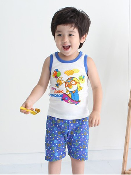 Boys' 2-Piece Cartoon Vest & Dots-Print Shorts Set