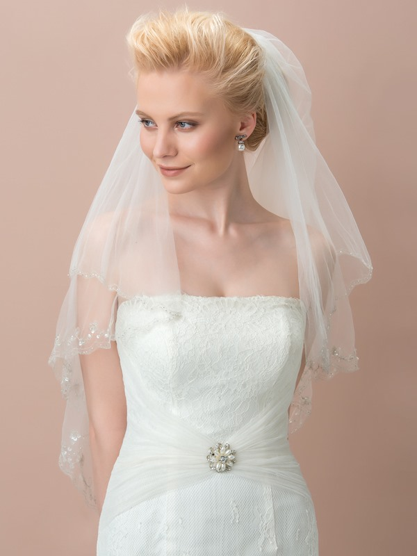 Elegant Beaded Edge Tulle Bridal Veil