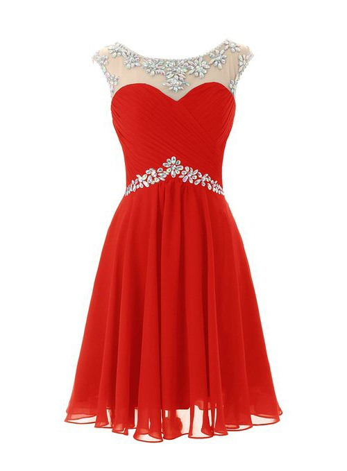 Hot Sale Straps Pleats Beading Homecoming Dress