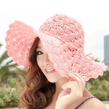 Hollow-out Floral Decorated Straw Hat