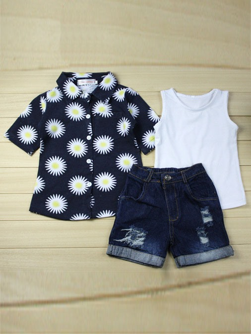 Baby's Printing T-Shirt,Vest & Denim Shorts Set