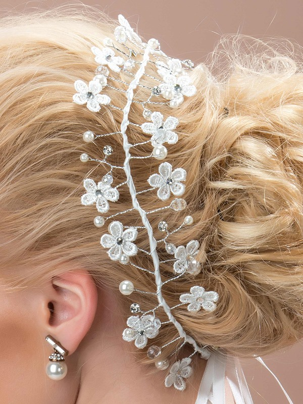 Fancy Flowers Pearls Alloy Wedding Headpiece