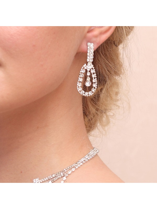 Charming Waterdrop Rhinestone Alloy Wedding Jewelry Set (Including Necklace and Earrings)