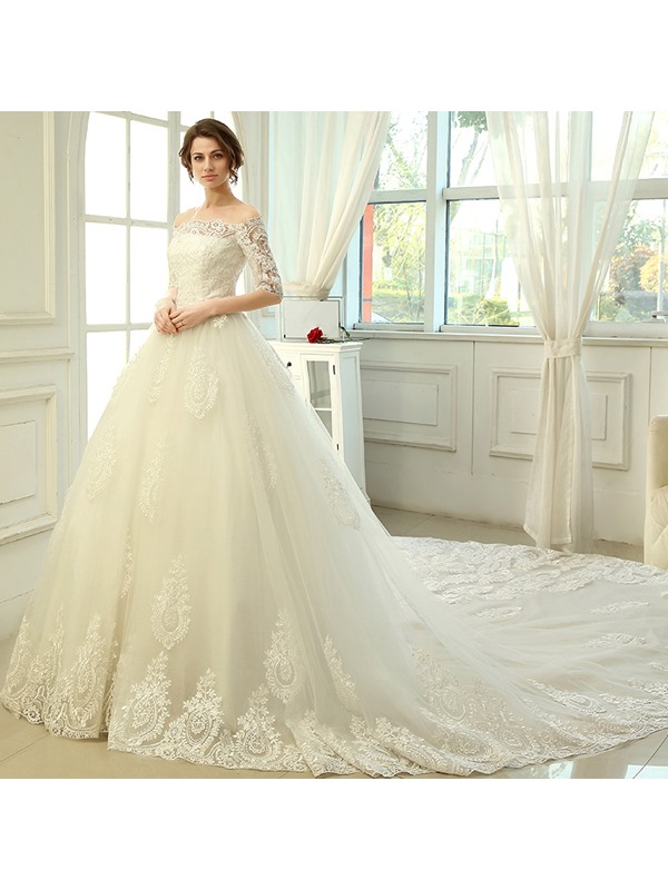 Lace Off the Shoulder Cathedral Train Wedding Dress