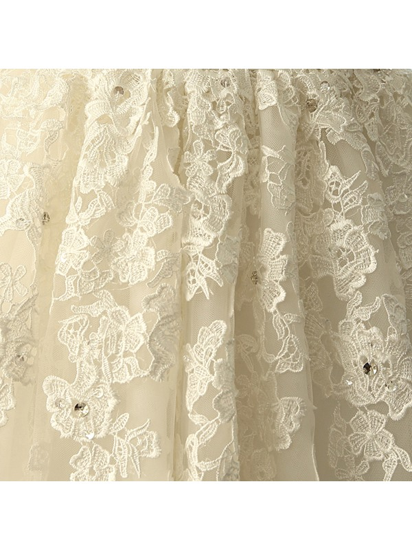 A-Line Scoop Neck Appliques Beading Wedding Dress