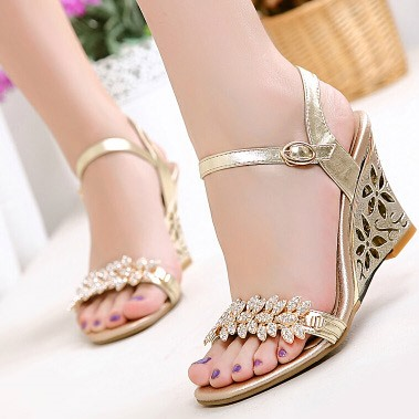 Hollow-out Rhinestone Ankle Strap Wedge Sandals