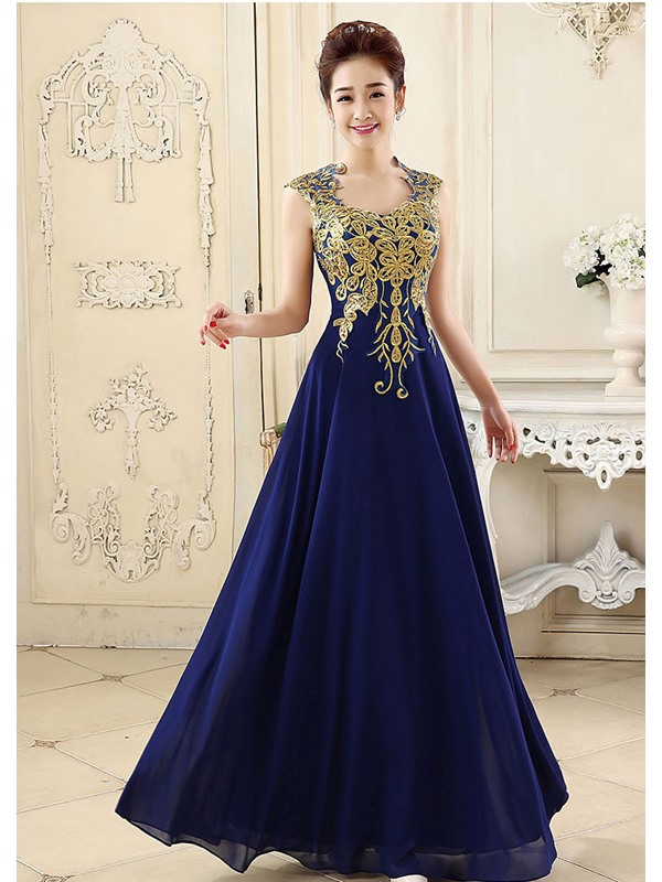 Pretty A-Line Straps Embroidery Zipper-up Long Prom Dress