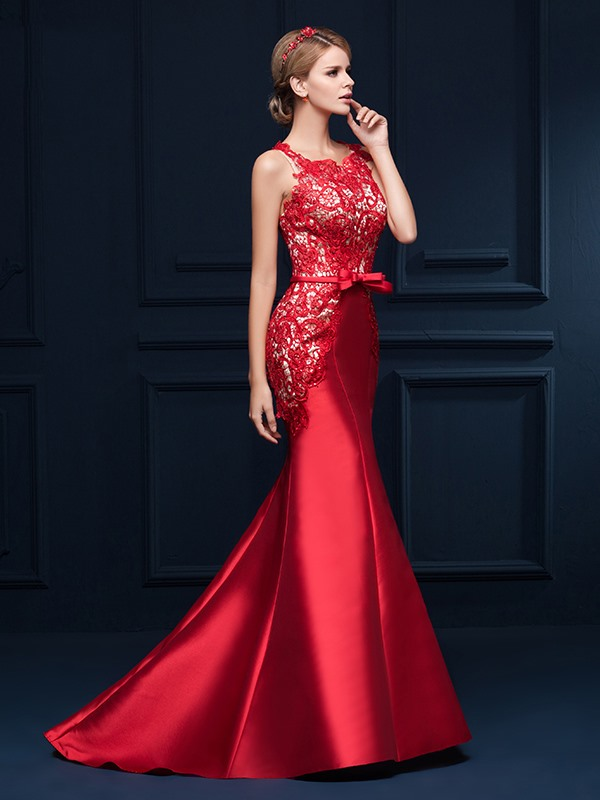 Mermaid Straps Lace Bowknot Button Lace-up Long Evening Dress(Free Shipping)