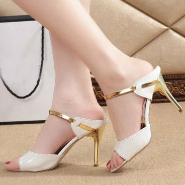 Chic Shiny Strap Dress Sandals