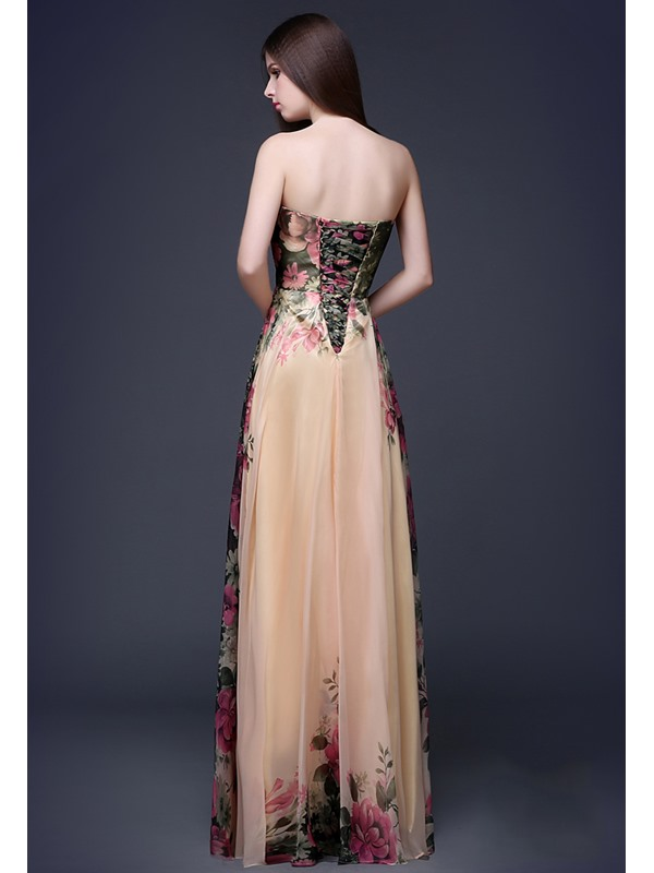 A-Line Sweetheart Pleats Flower Printed Long Prom Dress