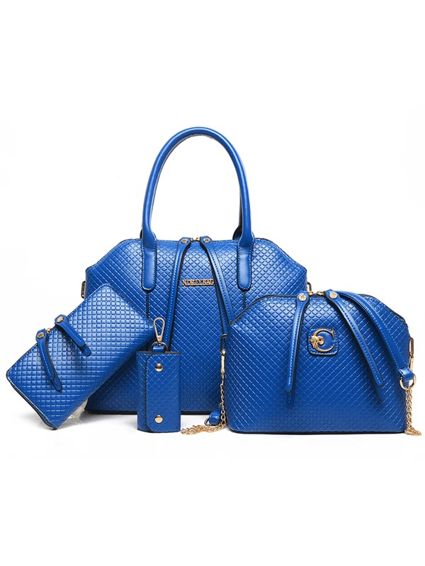 Croco-embossed Double-zipper Decorated Bag Set(Four Bags)
