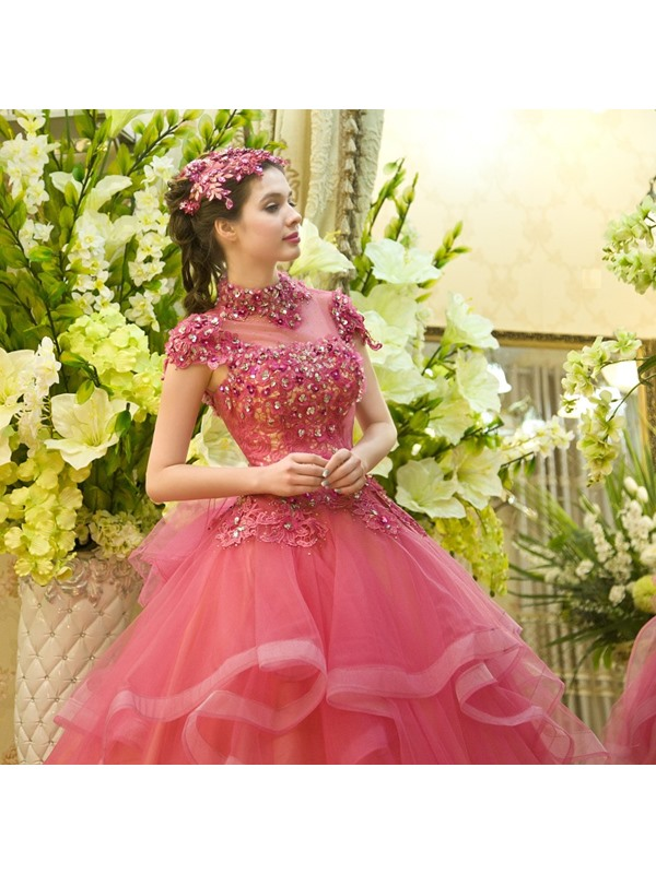 High Neck Lace Cap Sleeves Beading Ball Gown Dress