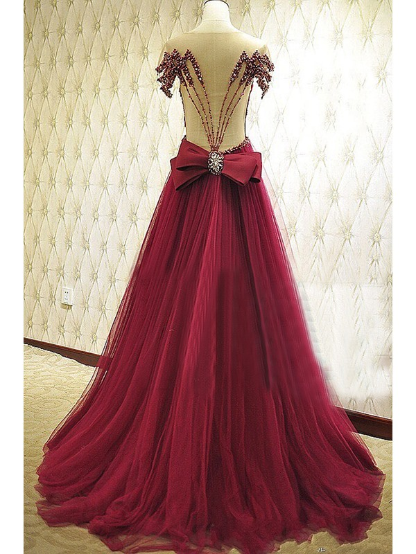 Beading Bowknot Pearls A-Line Long Evening Dress