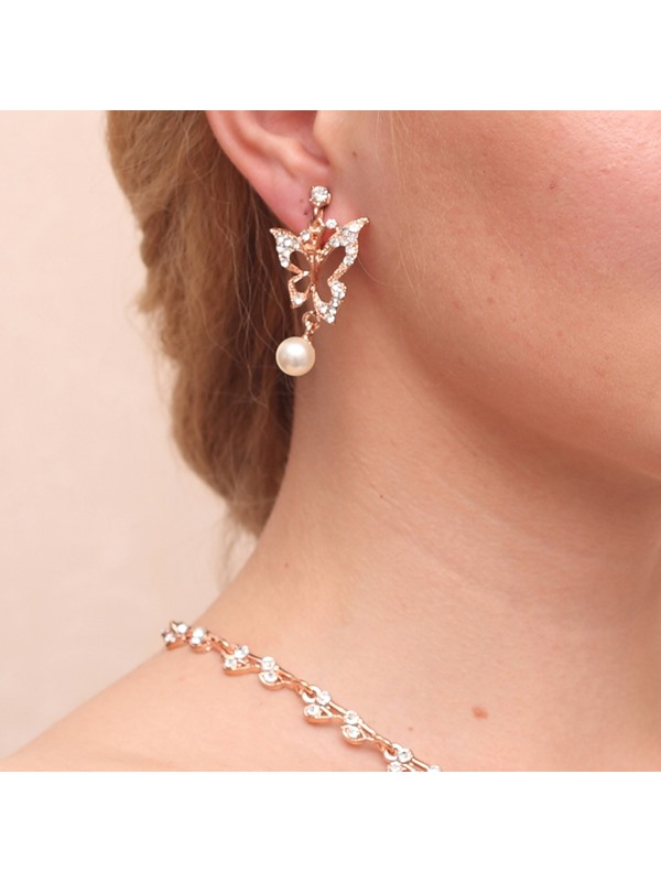Fashion Pearls Alloy Wedding Jewelry Set (Including Necklace and Earrings)