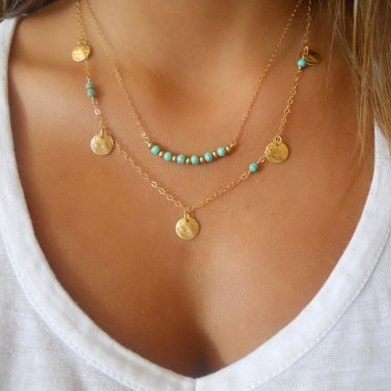 Double-deck with Turquoise Alloy Gold Layered Necklace