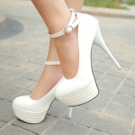 Platform Ankle-Strap Pumps