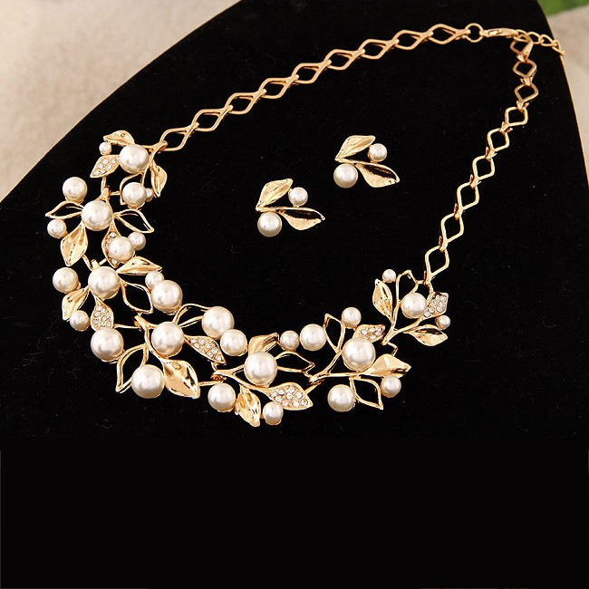 Leaf with Pearl Alloy Wedding Jewelry Sets(Including Necklace and Earrings)