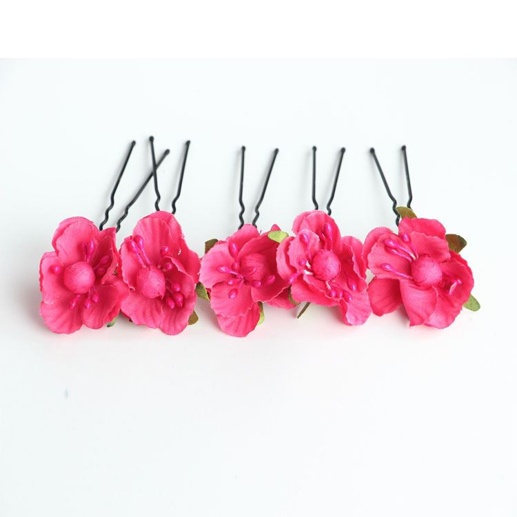 Red and Pink Cloth Flower Wedding Hair Pins ( 5 PCS One Set)