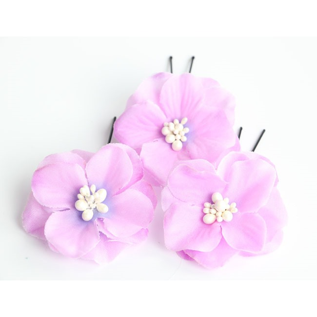 Hand-made Cloth Flower Wedding Hair Pins (3 Pieces One Set 7 Colors)
