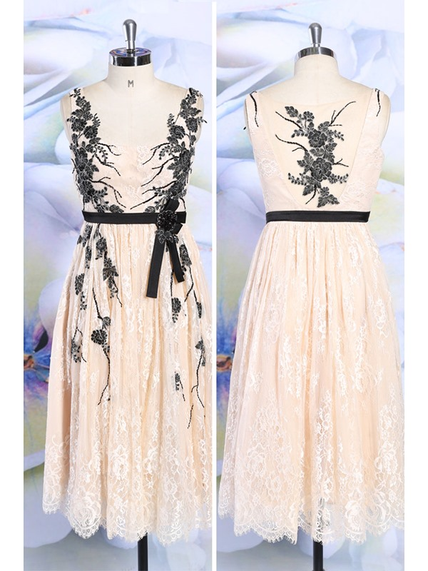 Stunning Straps A-Line Appliques Lace Tea-Length Evening Dress