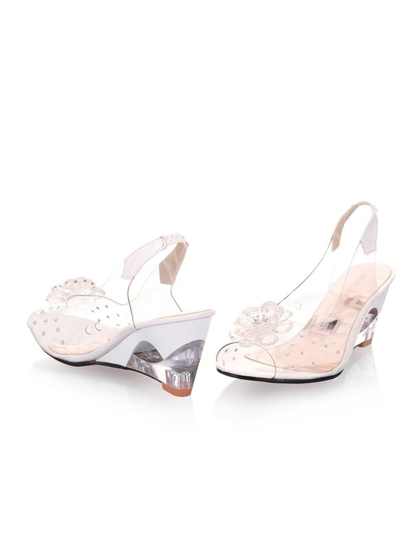 PVC Rhinestone Flowers Hollow-out Wedge Sandals