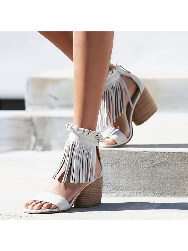 Ethnic Tassel Two-piece Chunky Heel Sandals