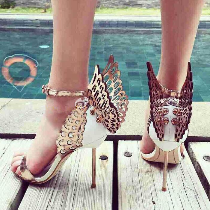 Butterfly & Peep Toe Heel Sandals