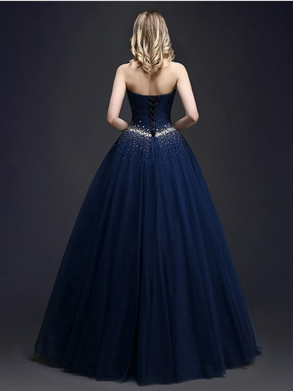 Dramatic Beaded Sweetheart Sequins Lace-up Long Quinceanera Dress(Free Shipping)