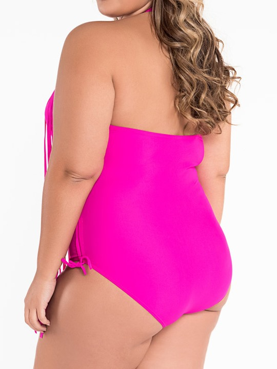 Plain Tassel Halter Plus Size Swimwear