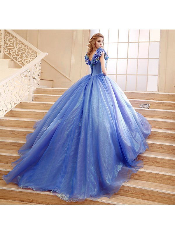 Straps Ball Gown Pick-ups Appliques Quinceanera Dress(Free Shipping)