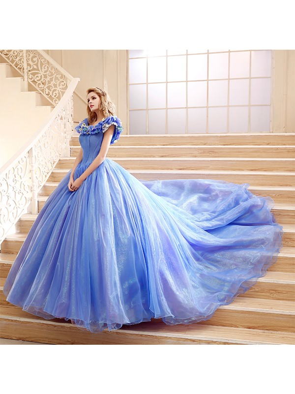 Fancy Straps Ball Gown Pick-ups Appliques Lace-up Chapel Train Quinceanera Dress(Free Shipping)