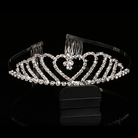 Fashion Heart Shaped Rhinestone Wedding Tiara Comb