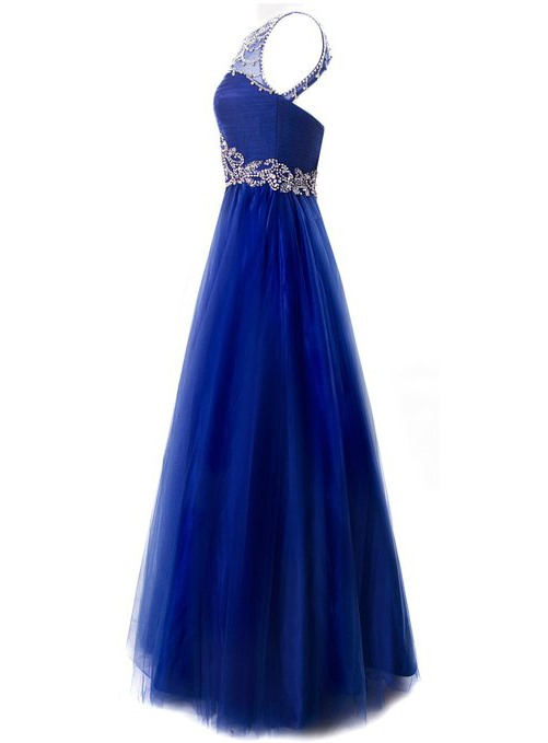 Chic Bateau Neck Beaded Crystal Backless Long Evening Dress(Free Shipping)