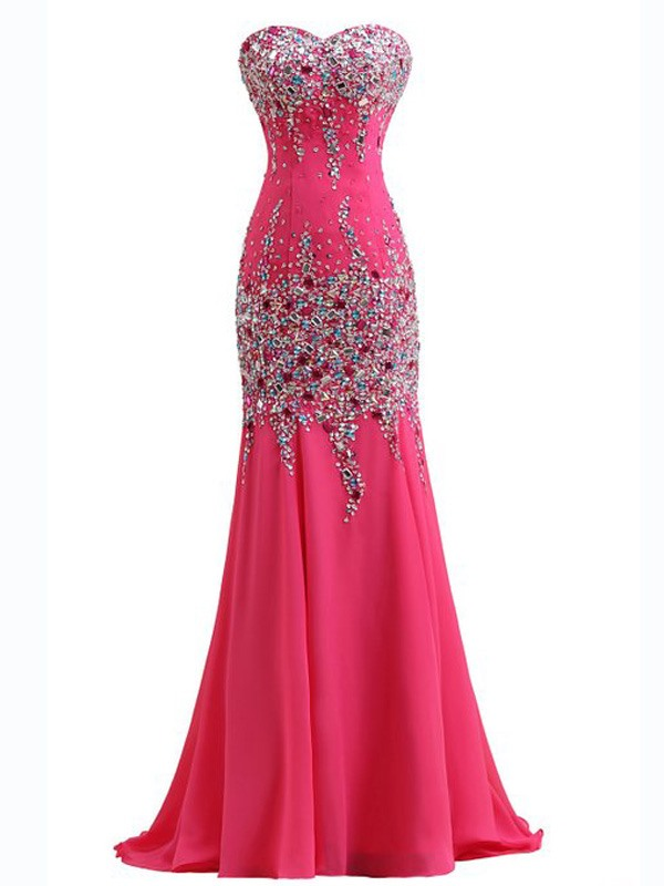 Sweetheart Beading Sequined Sweep Train Mermaid Evening Dress(Free Shipping)