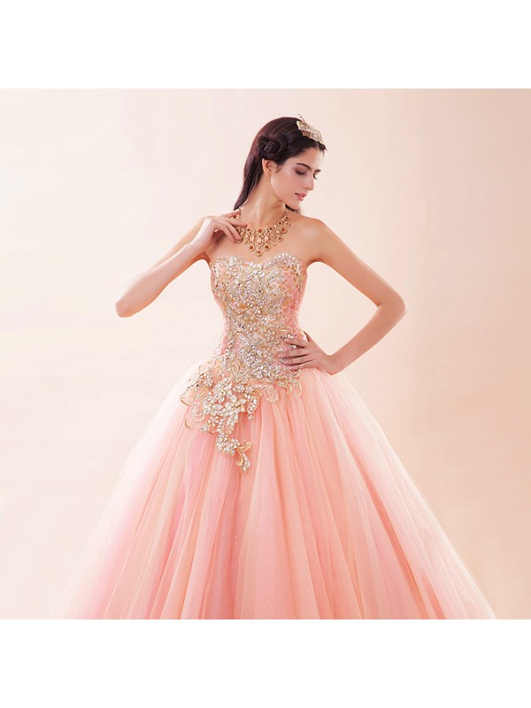 Exqusite Beaded Sweetheart Appliques Lace-up Ball Gown Quinceanera Dress(Free Shipping)