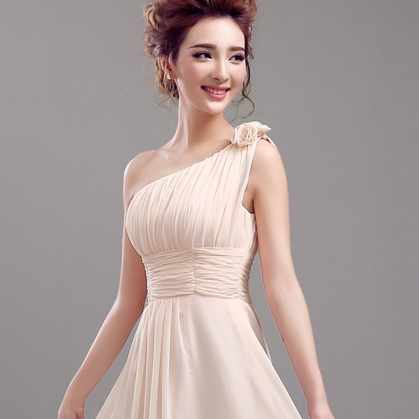 One Shoulder Flower Ruched Bridesmaid Dress