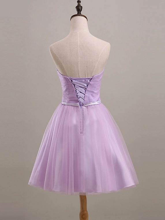 Knee Length A-Line Strapless Ruched Sweetheart Purple Short Bridesmaid Dress