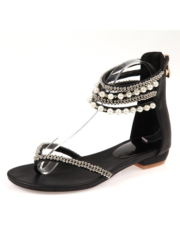 Luxurious Beads & Ankle Straps Thong Sandals