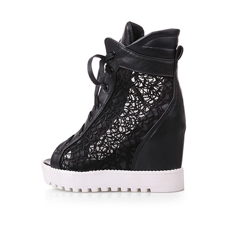 Lace Peep Toe Wedge Sneaker Shoes