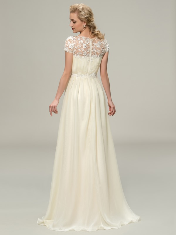 Floor Length A-Line Lace Bateau Neck Short Sleeve Bridesmaid Dress