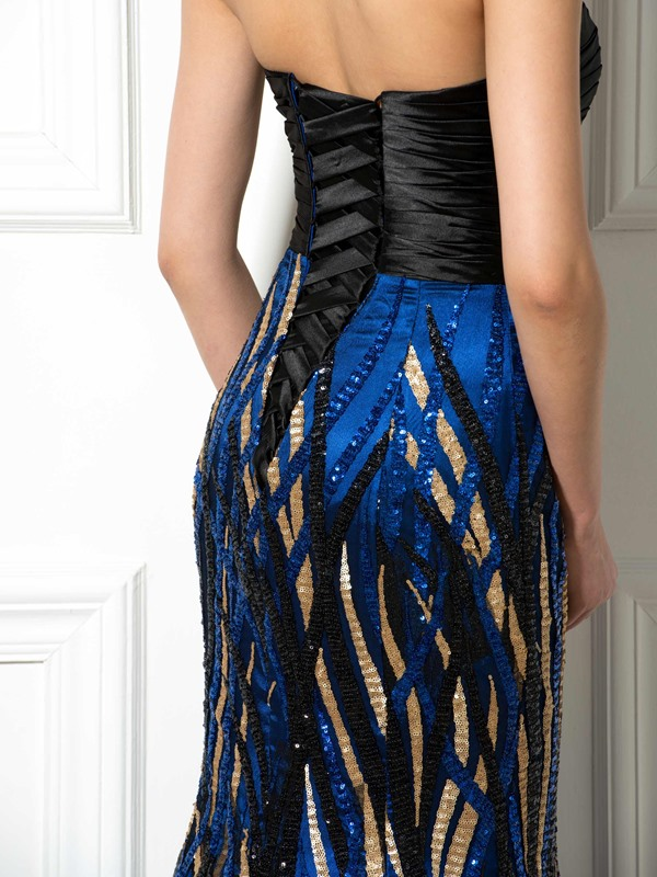 Amazing Strapless Court Train Lace-up Mermaid Long Sequined Evening Dress