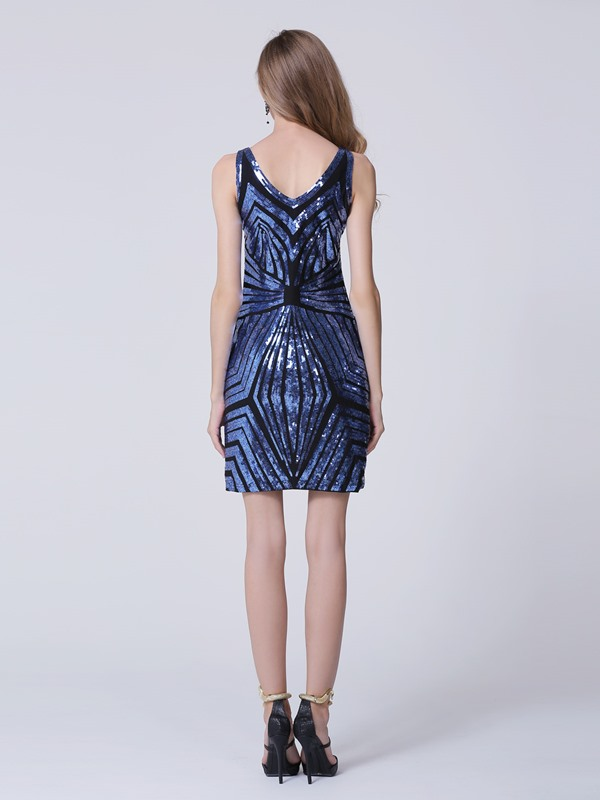 Amazing V-Neck Column Mini Sequined Cocktail Dress