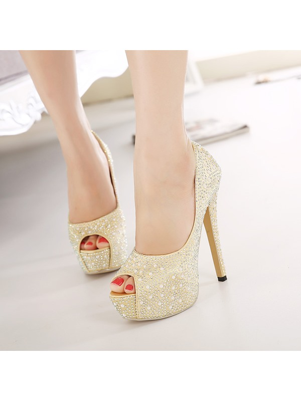 Rhinestone Peep-Toe Stiletto Heel Platform Prom Shoes