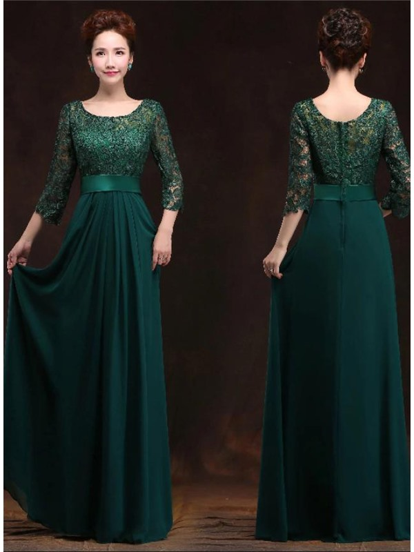 Vintage A-Line Half Sleeves Long Lace Evening Dress(Free Shipping)