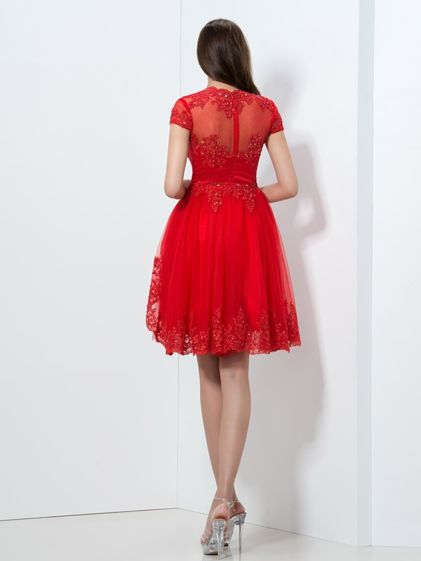 V-Neck Tiered Appliques Sequined Homecoming Dress