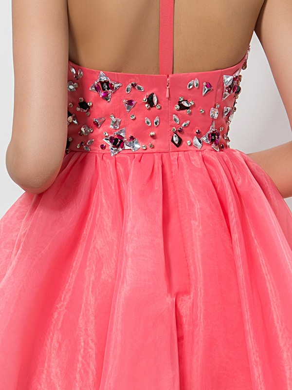 Modern Straps Cyrstal A-Line Short Homecoming Dress